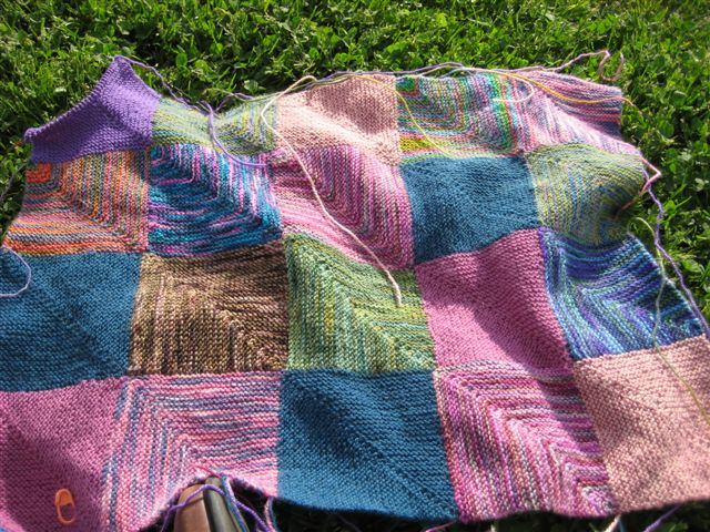 the blanket grows, 22 squares now